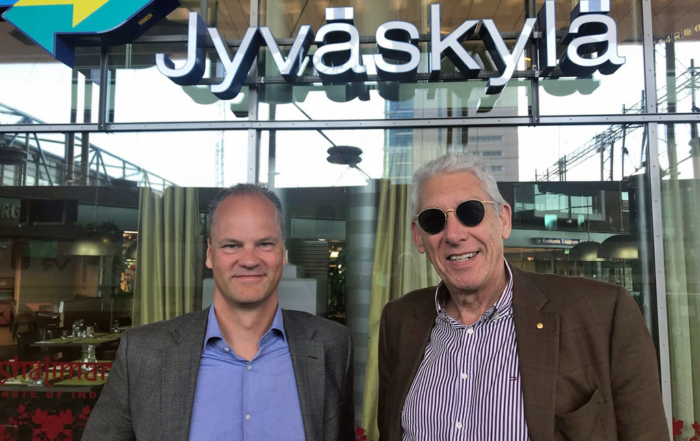 Photo: (left) Jaakko Kaidesoja (MD of Imgne's Finnish subsidiary) and Imgne CEO Chris Gilbey OAM in Jyväskylä, Finland.